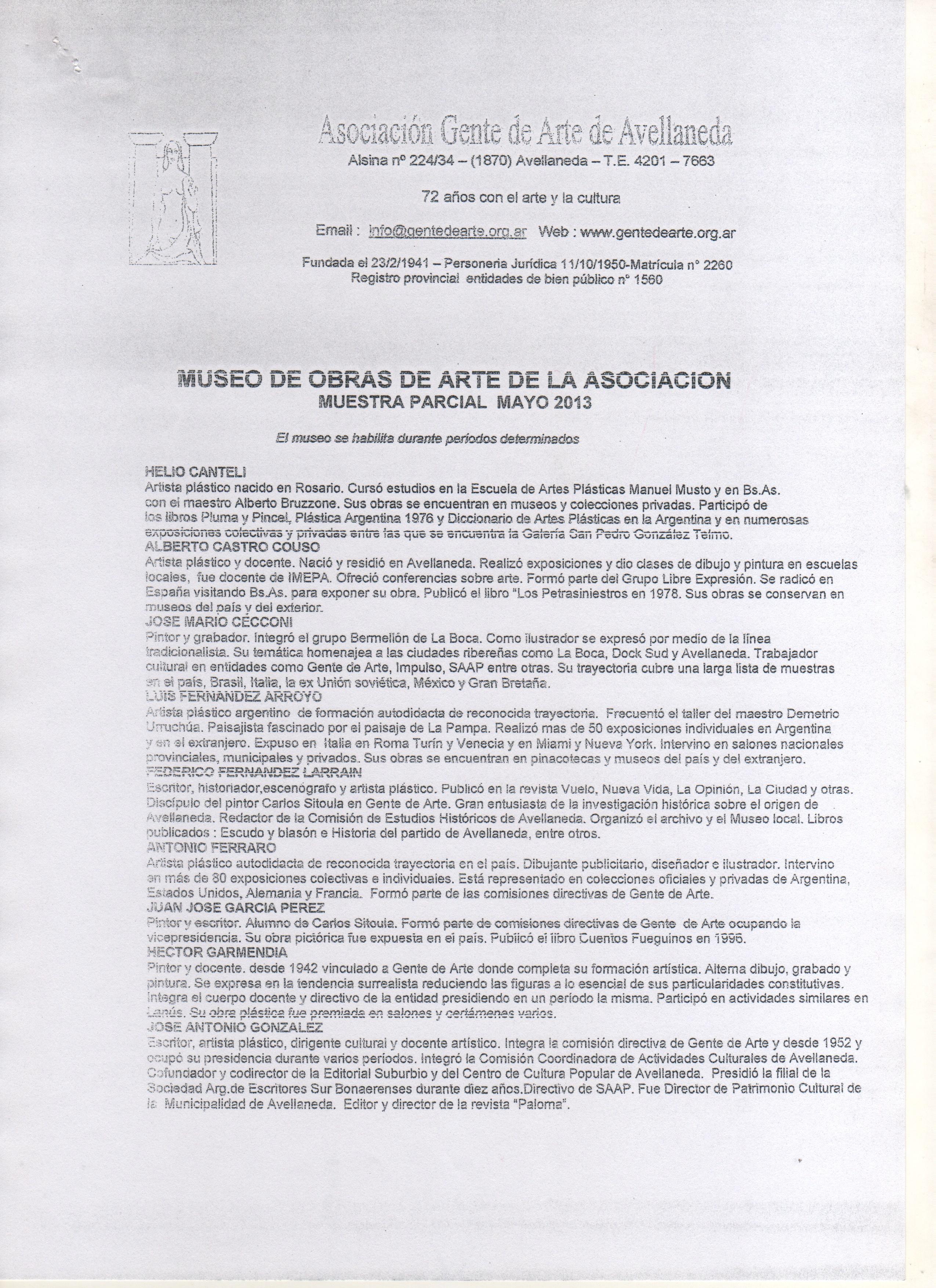 Museo 1 - Sala de exibición de artes visuales en la Asociación Gente de Arte de Avellaneda