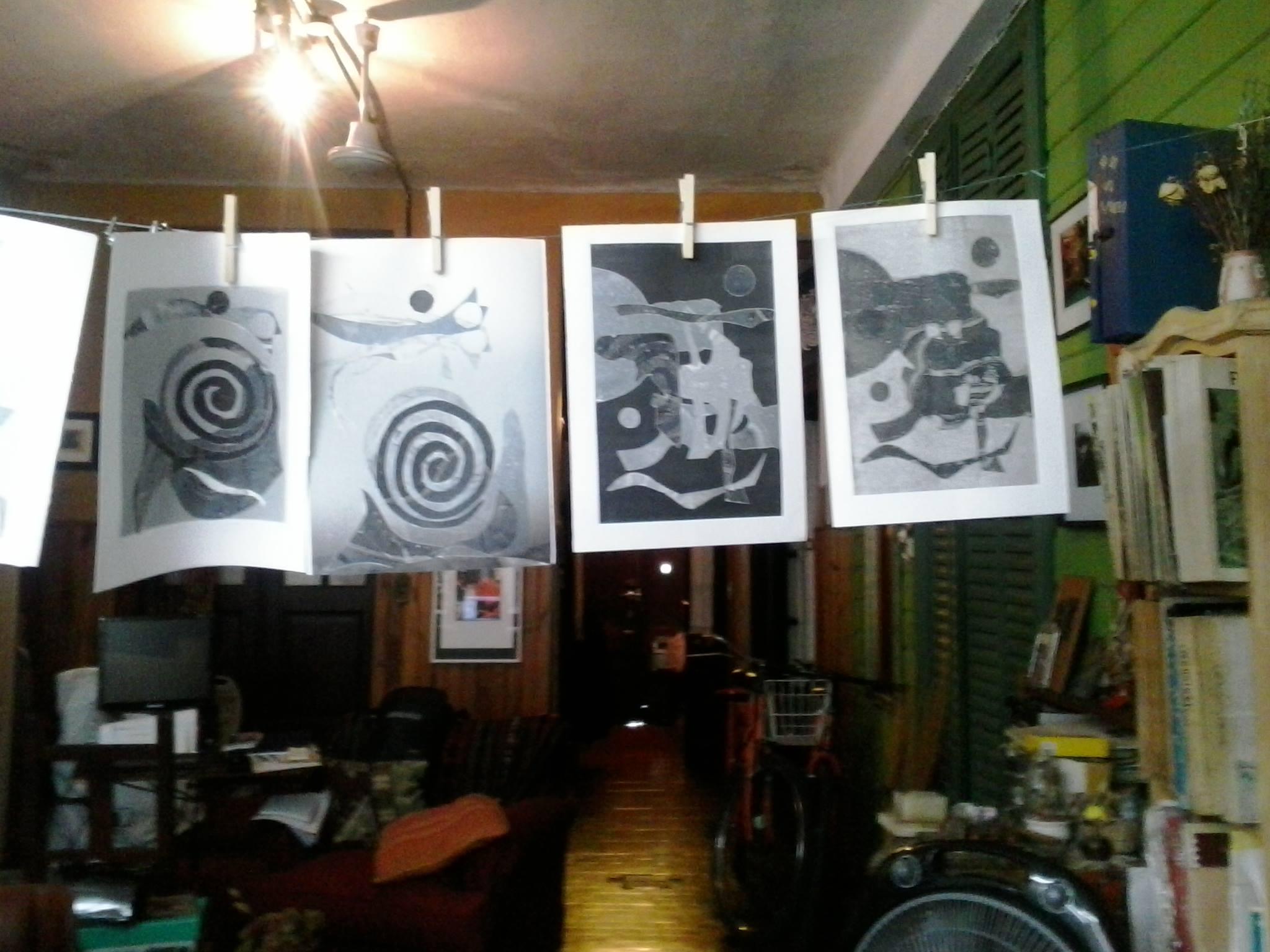 taller Mirando al Sur. trabajos secándose. foto 2 - Atelier de Silvia Rocca