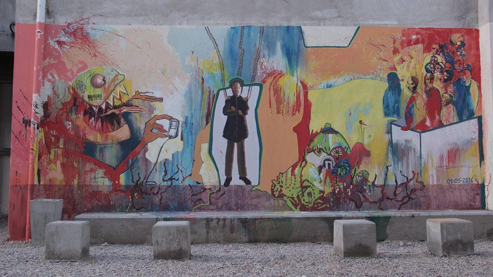 mural finalizado - Mural Jornadas de Estética y Pensamiento Descolonial en la UNDAV