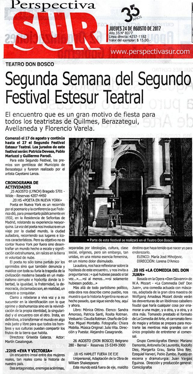 Nota 3 - Festival Estesur Teatral