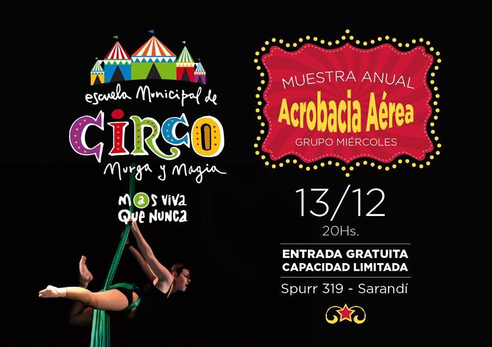 Flyer del Evento - Muestra de fin de año de la Escuela Municipal de Circo, Murga